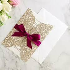 Invitation Quincenera Details About 50pc Champagne Glitter Wedding Invitations With Ribbon Quinceanera Invitation