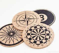 stenciled anthro inspired cork coasters by one dog woof one of a huge collection
