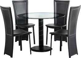cameo round dining table with 4 black chairs larger image