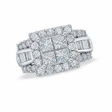 2 Ct T W Quad Princess Cut And Baguette Diamond Engagement Ring In 14k White Gold