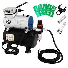 voilamart air compressor 1 6 hp airbrush stencils hose kit with tank for make up art paint