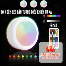 Đèn led dán gắn tường mini điều khiển từ xa thông minh chiếu sáng trang trí  có 16 màu dùng pin - Bộ 3 bóng tốt giá rẻ
