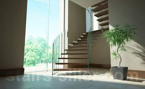 Helical staircase / wooden steps / metal frame / without risers - FLOATING  STAIRS WITH GLASS