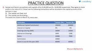 Practice Questions For Partners Capital Account