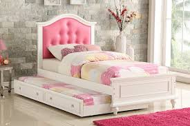 Poundex F9377 2 pc Trista white finish wood twin trundle bed pink tufted headboard