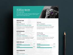 Free Clean Photographers Resume Cv Template In Photoshop