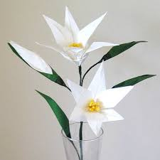 Paper Folded Flower Easter Lily Origami Flower With Flower Bud Graceincrease