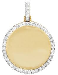 mens 10k yellow gold 1 row medallion real diamond photo engrave pendant 1 75 3ct