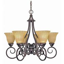 glomar 6 light copper bronze chandelier with champagne linen washed glass shade
