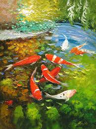 koi fish painting palette knife oil painting koi fish by enxu zhou
