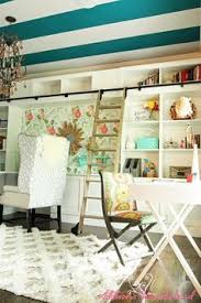 Eclectic home office alison Flea Market Colorful And Eclectic Office Design Features Striped Ceiling Custom Bookcases Rolling Ladder Youtube 77 Best Home Office Images In 2019 Desk Desk Ideas Home Office Decor