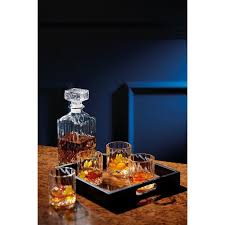 barcraft cut glass whisky decanter and tumbler gift set 5 pieces