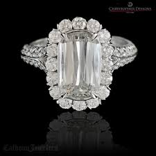 Christopher Designs Halo Engagement Ring Lamour Crisscut Designer Diamond Engagement Ring Calhoun