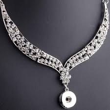 whole gold silver luxury full crystal alloy snaps on choker necklace fit 18mm ons ginger snap jewelry