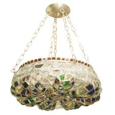 leaded multi color glass chandelier with nickel hardware for