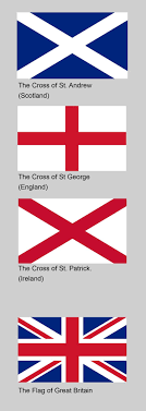 Union Jack explanation ~ These flags together signify The United Kingdom.  Individually they represent