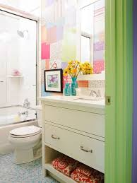 bathroom designs for kids. Faboulus Kids Bathroom Design With Patchwork Of Different Wallpapers Adds Color Plus White Wooden Towel Storage Designs For N
