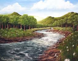 full length acrylic painting lesson mountain meadow river landscape you