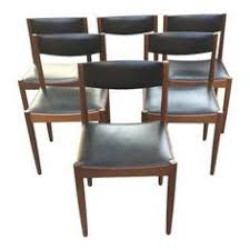 danish modern teak and black vinyl dining chairs set of 6