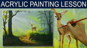 acrylic landscape painting tutorial the young deer by jm lisondra
