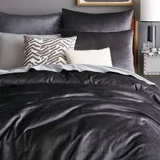Washed Cotton Lustre Velvet Quilt Cover + Pillowcases - Slate