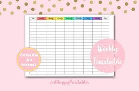 Weekly Timetable Planner Editable Printable Weekly Timetable Printable Planner Digital Planner Printable Weekly Planner Digital Planner Page Digital Weekly Log