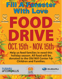 Food Drive Posters Food Drive Fill A Forester With Love Old Mill Center