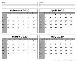 April May 2020 Calendar Printable Print February To May 2020 Calendar Template 4 Month Calendar