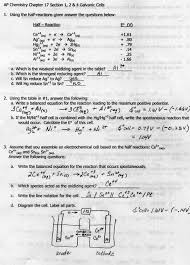 go over answers to galvanic cell worksheet answers front answers back nernst equation