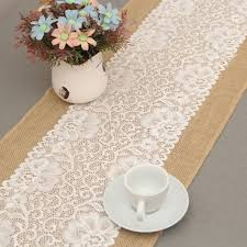 rectangular dining table cover cloth knitted vintage: xcm luxury burlap and lace table runner wedding decoration modern jute lace table runners vintage tablecloth