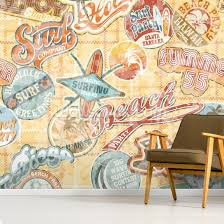 vintage beach abstract wallpaper mural