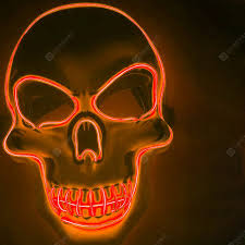 <b>LED Neon Fashion Halloween</b> Party Luminous Mask Orange ...