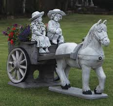 large garden ornaments horse cart stone statue