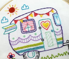 Embroidery Camper Designs Retro Camper Embroidery Pdf Pattern Embroidery Patterns