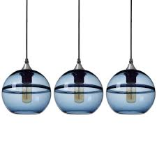 h 1 light unique optic contemporary nickel doubleeyelid hand blown blue glass shade pendant pack of 3