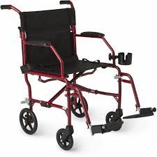 medline ultralight transport wheelchair with 19 x 16 seat red walmart