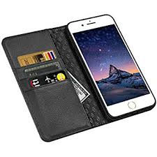 iphone 8 case iphone 7 case zover genuine leather case flip folio book case wallet cover with kickstand feature card slots id holder and magnetic closure