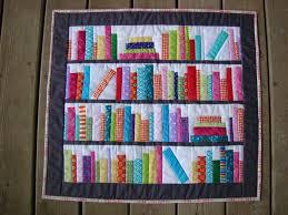Slice of Pi Quilts: Bookshelf Mini Quilt & Bookends Mini library bookshelf books quilt Adamdwight.com