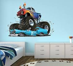 monster truck wall decal boys bedroom