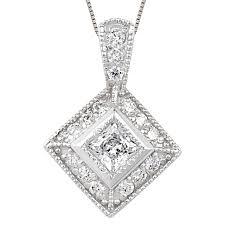 princess cut pendant with small diamonds