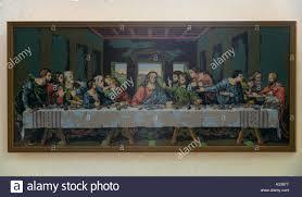 leonardo da vinci code last supper tapestry copy of fresco painting hung in holy trinity church gidleigh devon england