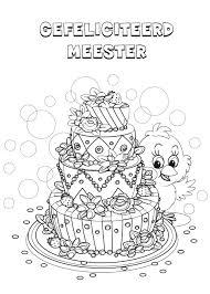Kleurennu Een Verjaardagstaart Voor De Meester Kleurplaten