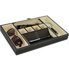 executive leatherette valet tray organizer for men storage box