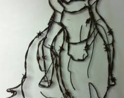 barbwire art etsy