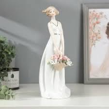 «<b>Статуэтка Девушка</b> с корзинкой, высота 30 см глянцевая ...