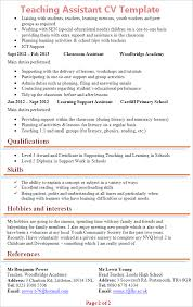 cv teaching assistant teaching assistant cv template tips and download cv plaza