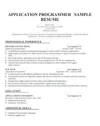 Systems Programmer Resume Application Programmer Resume Format Of