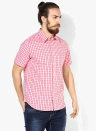 Image result for Checked Pink Shirts for man