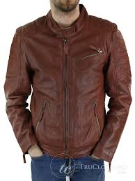 aviatrix 1407 mens tan brown short biker real leather jacket vintage tailored fit genuine truclothing com