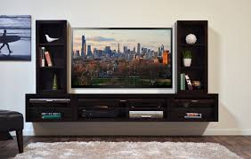 white stained wodoen floating tv stand shelf with gray sliding door panel in white painted